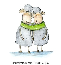 sheeps greens - Watercolor hand drawn illustration of a couple of white fluffy sheeps that wearing one bright green scarf together.