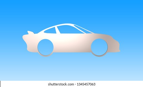 Sheet metal in sport car shape, isolated on white background. Energy saving concept. 3D illustration.