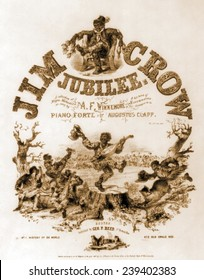 Sheet music cover, JIM CROW JUBILEE, of Negro Melodies illustrated with caricatures of ragged African American musicians and dancers. Originally, Jim Crow, was a character in a song by Thomas Rice.