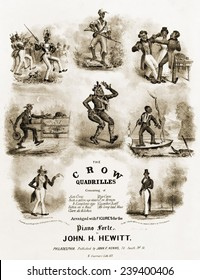 Sheet music entitled the Crow Quadrilles, I and illustrated with several caricatures of African Americans. The Quadrille, was a forerunner of the American Square dance. 1837.