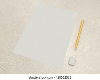 sheet paper pencil eraser simple set stock illustration 420562528