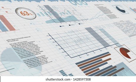 sheets with numbers and financial charts , concept of business, stock market (3d render)