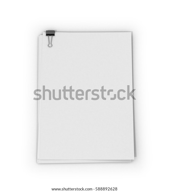 Sheets of paper with letter clips on a white background. 3D illustration