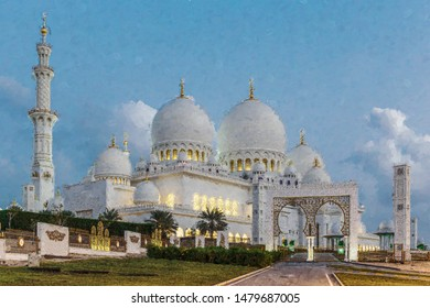 Sheikh Zayed Mosque, Abu Dhabi, UAE. Computer graphics - oil painting style