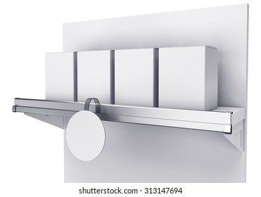 shelf with bags and blank round wobbler