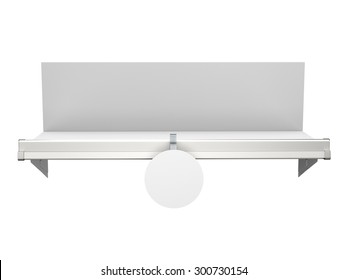 shelf with blank single round wobbler from front