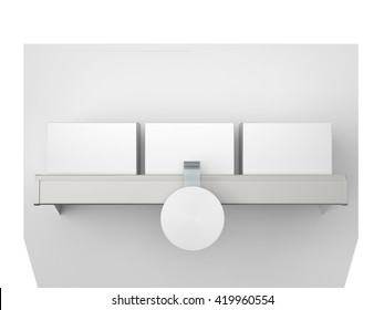 shelf with boxes and blank wobbler