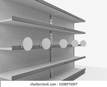 Shelf With Circle Wobbler. 3D rendering