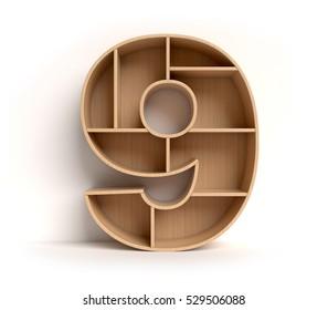 shelf font 3d rendering letter 9