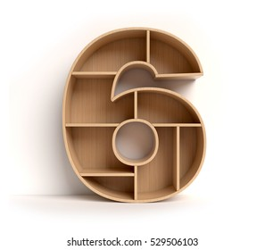 shelf font 3d rendering letter 6