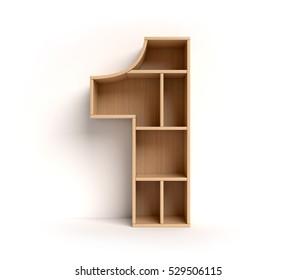 shelf font 3d rendering letter 1