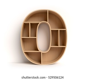 shelf font 3d rendering letter 0