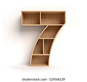 shelf font 3d rendering letter 7
