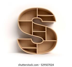 shelf font 3d rendering letter S