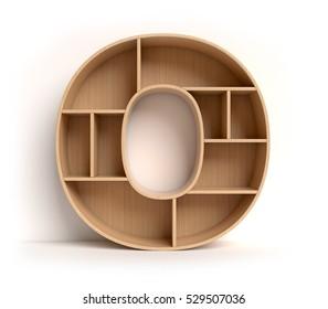 shelf font 3d rendering letter O