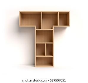 shelf font 3d rendering letter T