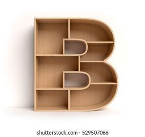 shelf font 3d rendering letter B