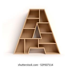 shelf font 3d rendering letter A
