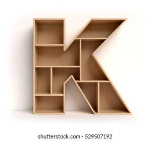 shelf font 3d rendering letter K