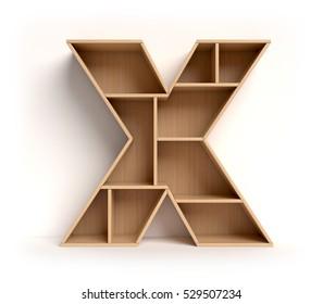 shelf font 3d rendering letter X