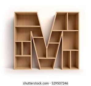 shelf font 3d rendering letter M