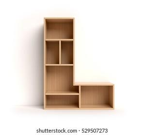shelf font 3d rendering letter L