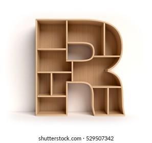 shelf font 3d rendering letter R