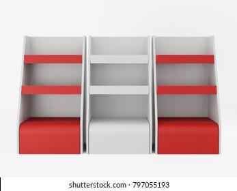 shelf product display mock-up. 3D rendering