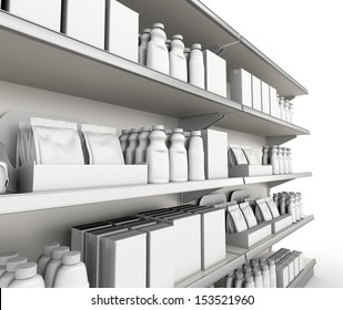 shelf with products or goods. render
