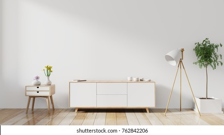 shelf tv in modern empty room,minimal design, 3d rendering