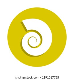 a shell of a cochlea icon in badge style. One of sheashell beach collection icon can be used for UI, UX on white background