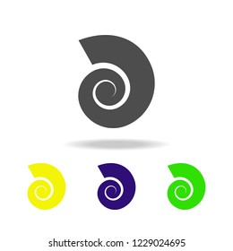 a shell of a cochlea multicolored icons. Element of beach holidays multicolored icons can be used for web, logo, mobile app, UI, UX