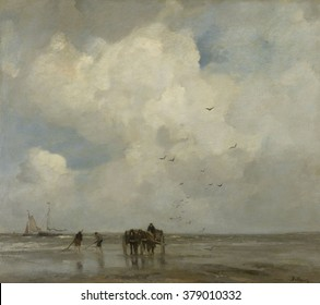 Shell Fishing, by Jacob Maris, 1885, Dutch painting, oil on canvas. People on beach fishing with nets for shellfish as a two horse cart stands by.
