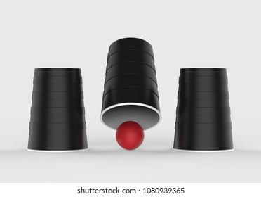 Shell Game - Three Black Cups With One Red Ball Isolated On Light Grey Background, 3d Illustration.