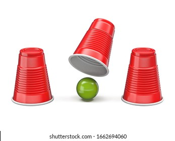 Shell Game three red cups and green ball 3D render illustration isolated on white background