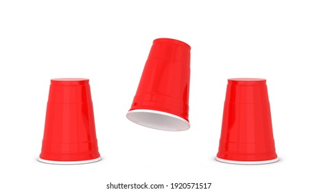 Shell game. Three red plastic cups. 3d illustration isolated on white background