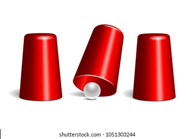 Shell game. Three red thimbles and white ball. Equipment performance circus show. Chance and fortune concept.