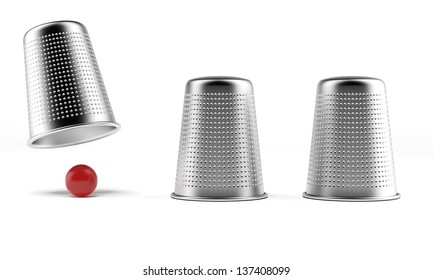 A shell game: three thimbles and a ball