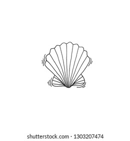 shell sketch drawing icon summer themed, raster version illustration