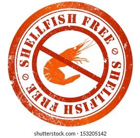 shellfish free grunge stamp, in english language