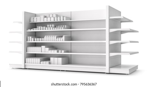 Shelves with blank goods in the store. 3d illustration isolated on white.