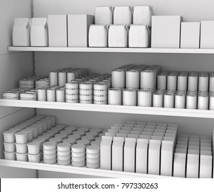 Shelves with blank goods in the store. 3d illustration