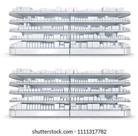Shelves with blank goods in the store. Set of 3d images isolated on white.