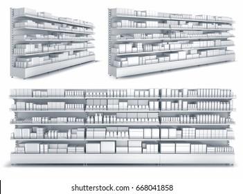 Regale mit leeren Waren im Laden. Set von 3D-Bildern einzeln auf weiß.