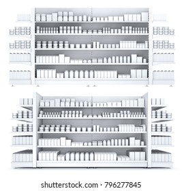 Shelves with blank goods in the store. Set of 3d illustration isolated on white.
