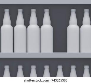 Shelves with bottles. 3D rendering