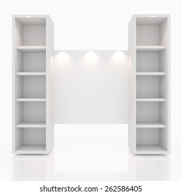 shelves design with blank white on white background