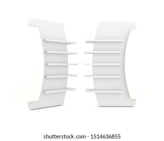 The shelves are designed with circular features. White label for promotion, 3D illustration