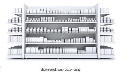 Shelves gondola with blank goods in the store. 3d illustration isolated on white.