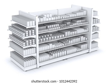 Shelves gondola rack with blank goods in the store. 3d illustration isolated on white.